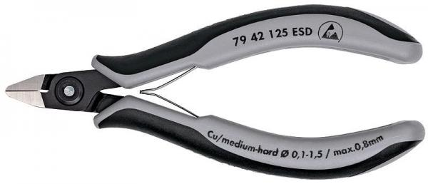 Knipex 7942125ESD Precision Electronics Side Cutter ESD burnished 125 mm