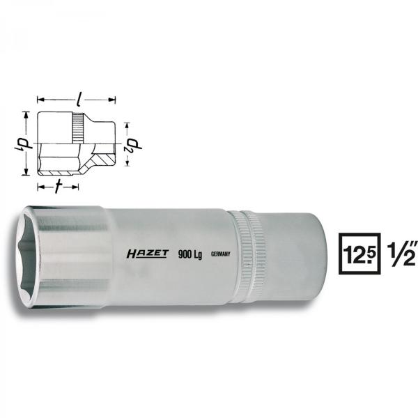"Hazet 900LG-19 1/2"" drive 6-point socket long"