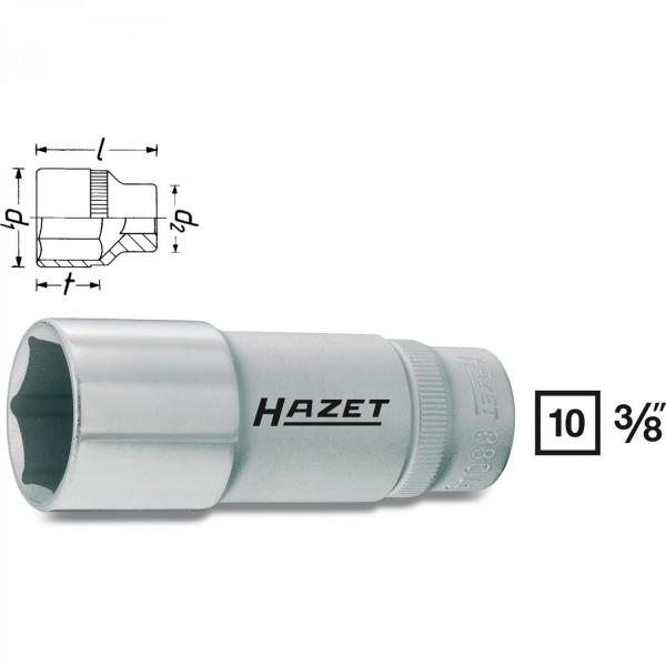 "Hazet 880-Lg14 3/8"" drive 6-point socket"