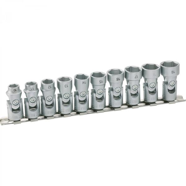 """Hazet 880G/10H 3/8"""" 6-point Socket Set with Universal Joint"""