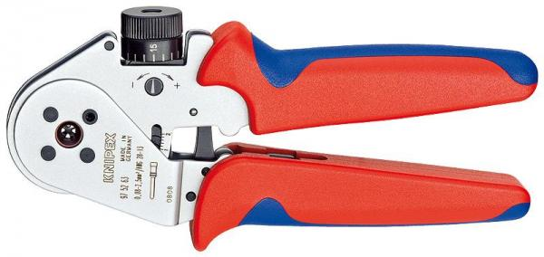Knipex 975263 Four-Mandrel Crimping Pliers for turned contacts chrome plated 180 mm