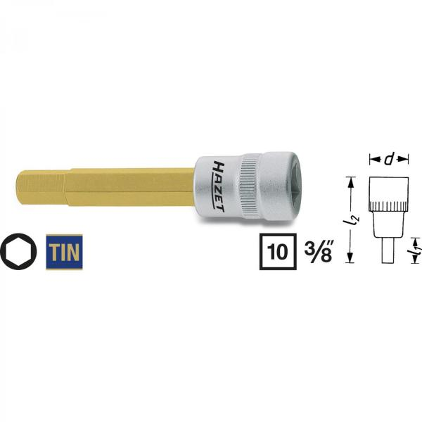 Hazet 8801-7 Screwdriver Socket for inside Hexagon screws 7mm