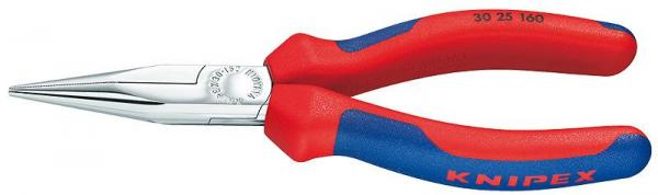 Knipex 3025160 Long Nose Pliers chrome plated with multi-component grips 160 mm