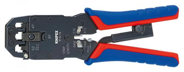 Knipex 975112 Crimping Pliers for Western plugs burnished with multi-component grips 200 mm