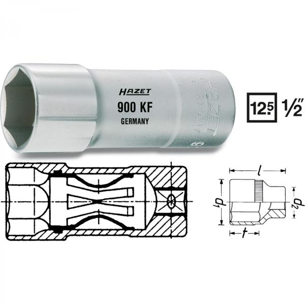 Hazet 900KF Spark Plug Socket (6-Point)