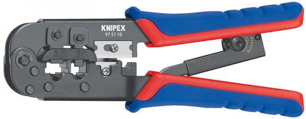 Knipex 975110 Crimping Pliers for Western plugs burnished with multi-component grips 190 mm