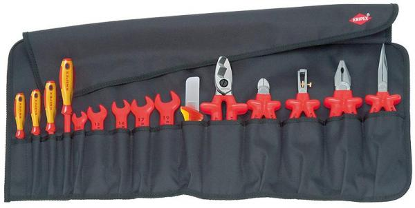 Knipex 989913 Tool Roll 15 parts with insulated tools for works on electrical installations