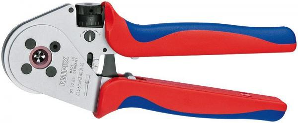 Knipex 975265 Four-Mandrel Crimping Pliers for turned contacts chrome plated 230 mm