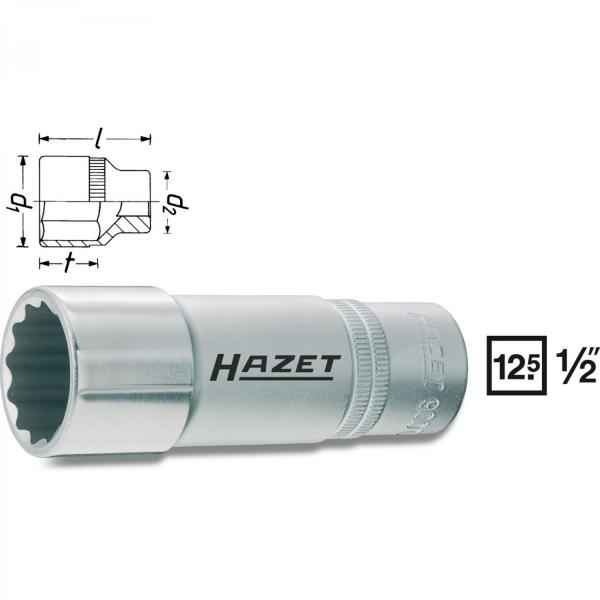 "Hazet 900TZ-19 1/2"" drive 12-point socket long"