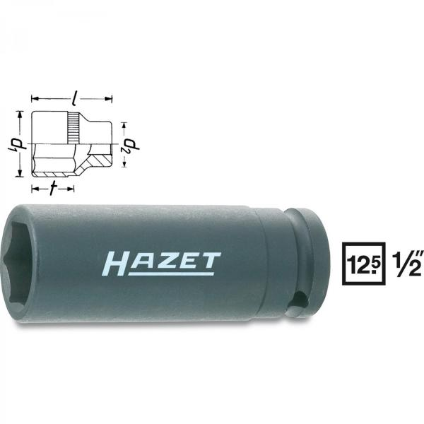 "Hazet 900SLG 1/2"" drive 6-point impact sockets long"