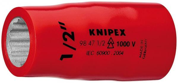 """Knipex 98475/8"""" Hexagon Sockets for hexagonal screws with internal square 1/2"""""""