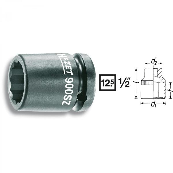 "Hazet 900SZ-13 1/2"" drive 12-point impact socket"