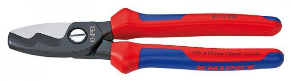 Knipex 9512200 Cable Shears with twin cutting edge with multi-component grips 200 mm