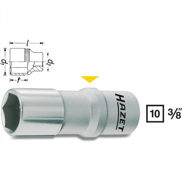 "Hazet 880AMGT-1 Spark Plug Socket for 5/8"" 16mm spark plugs"