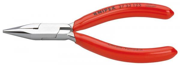 Knipex 3733125 Flat Nose Pliers for precision mechanics chrome plated plastic coated 125 mm