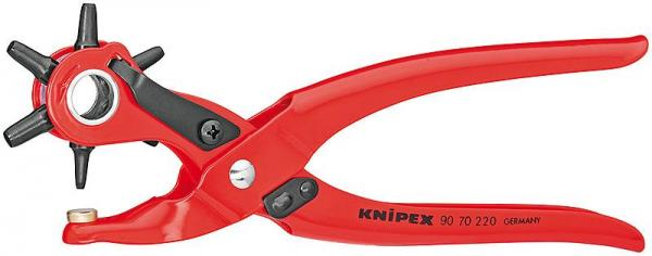 Knipex 9070220 Revolving Punch Pliers red powder-coated 220 mm