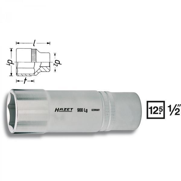 "Hazet 900LG 1/2"" drive 6-point sockets long"