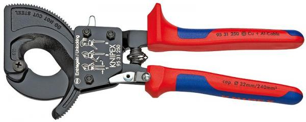 Knipex 9531250 Cable Cutter (ratchet action) with multi-component grips 250 mm