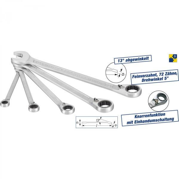 Hazet 606/5 5-piece Ratcheting Combination Wrench Set