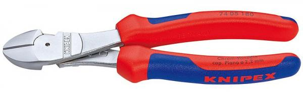 Knipex 7405180 High Leverage Diagonal Cutter chrome plated with multi-component grips 180 mm