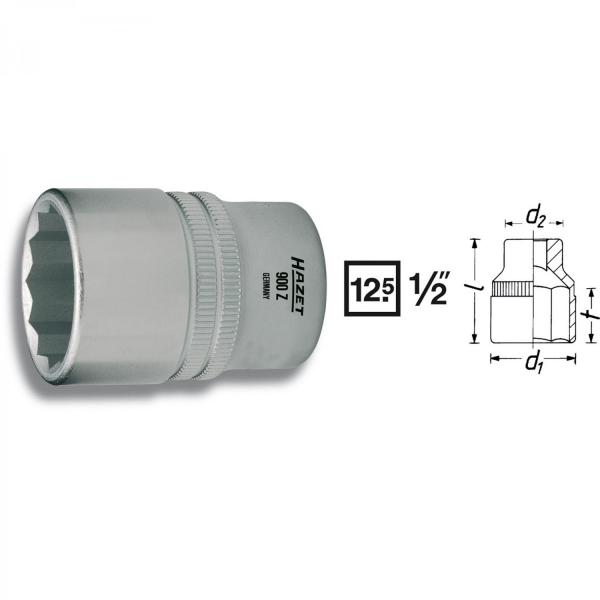 "Hazet 900Z-19 1/2"" drive 12-point socket"