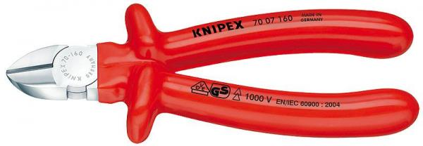 Knipex 7007160 Diagonal Cutter chrome plated with dipped insulation, VDE-tested 160 mm